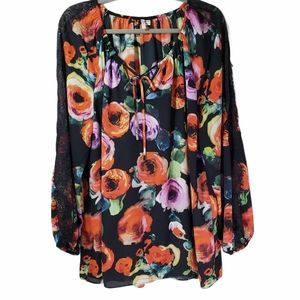 Cato Floral Semi Sheer Lace Long Sleeve 18/20